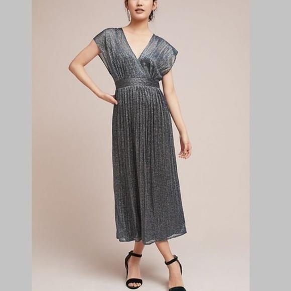 3fc767ef00b59 Anthropologie Dresses   Pleated Metallic Wrap Dress   Poshmark